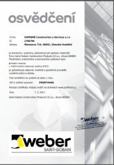 Certifikát ETICS výrobce WEBER a.s.