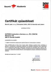 Certifikát ETICS výrobce BAUIMIT s.r.o.